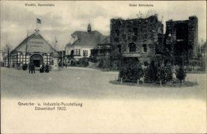 Ak Düsseldorf am Rhein, Ruine Rüdesheim, Westfälisches Bauernhaus, Industrie- u. Gewerbeausstellung