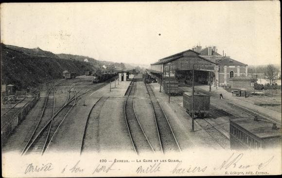 Ak Évreux Eure, La Gare et les Quais