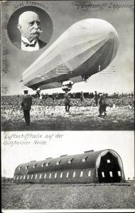 Ak Golzheim Düsseldorf Nordrhein Westfalenm Luftschiff Zeppelin, Graf Zeppelin, Luftschiffhalle