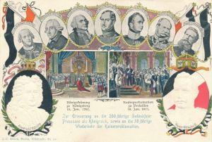 Präge Ganzsachen Ak 200jh Gedenkfeier Preußens als Königreich,30jh Wiederkehr der Kaiserproklamation