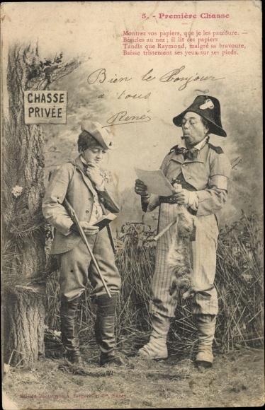 Ak Première chasse, Erste Jagd, Chasse privée