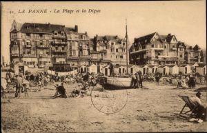 Ak La Panne Westflandern, La Plage et la Digue, Strandpartie