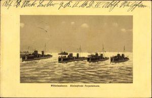 Ak Wilhelmshaven in Niedersachsen, einlaufende Torpedoboote