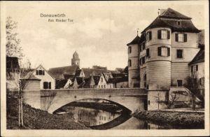 Ak Donauwörth in Schwaben, Am Rieder Tor, Brücke