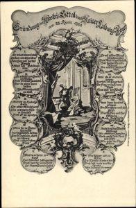 Passepartout Ak Ettal Oberbayern, Gründung des Klosters Ettal durch Kaiser Ludwig den Bayern
