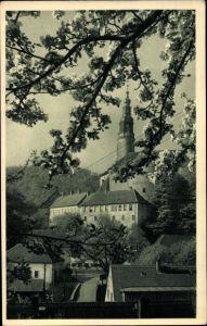 Ak Weesenstein Müglitztal in Sachsen, Schloss Weesenstein zur Baumblüte
