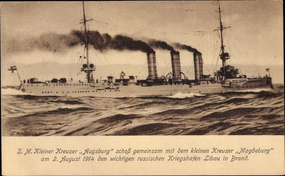 Ak Deutsches Kriegsschiff, SMS Augsburg, Kleiner Kreuzer, SMS Magdeburg, Kaiserliche Marine