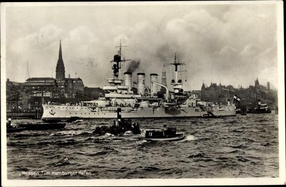 Ak Deutsches Kriegsschiff, Hessen im Hamburger Hafen