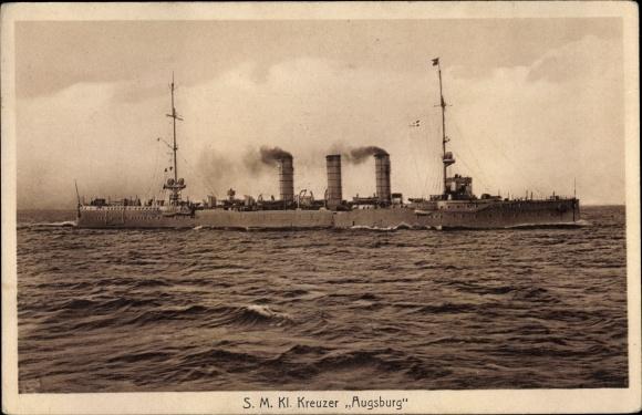 Ak Deutsches Kriegsschiff, SMS Augsburg, Kreuzer, Kaiserliche Marine