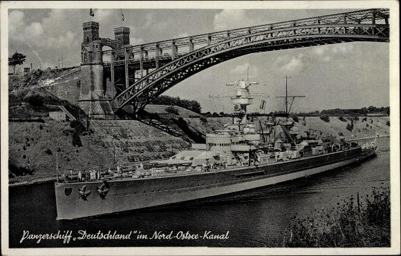 Ak Deutsches Kriegsschiff, Panzerschiff Deutschland im Nord Ostsee Kanal