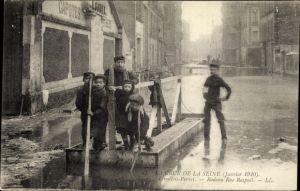 Ak Levallois Perret Hauts de Seine, Crue de la Seine, Janvier 1910, Radeau Rue Raspail, Hochwasser