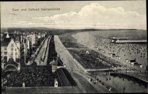 Ak Świnoujście Swinemünde Pommern, See- und Solbad, Strand