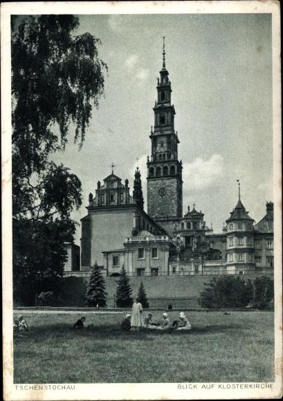 Ak Częstochowa Tschenstochau Schlesien, Blick auf die Klosterkirche, Garten