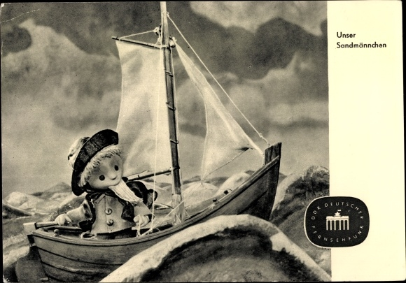 Ak Sandmännchen mit Segelboot, Sturm, DDR Fernsehen
