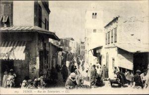 Ak Tunis Tunesien, Rue des Teinturiers, marchands