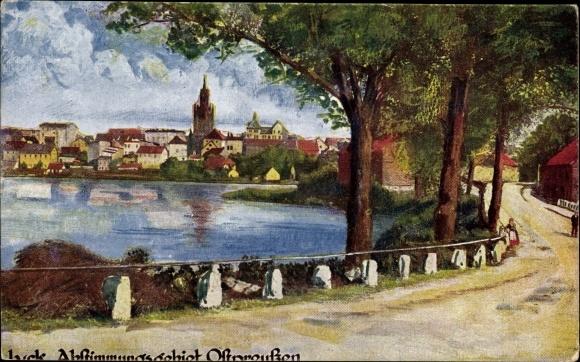 Künstler Ak Ełk Lyck Masuren Ostpreußen, Abstimmungsgebiet, Wasserpartie mit Blick zur Stadt