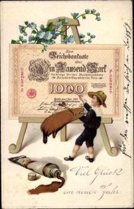 Präge Ak Glückwunsch Neujahr, Maler, Staffelei, Vergissmeinnicht, Geldscheine, Tausend Reichsmark