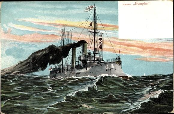 Künstler Ak Deutsches Kriegsschiff, SMS Nymphe, Kreuzer, Kaiserliche Marine