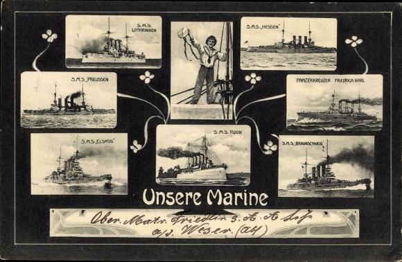 Ak Deutsches Kriegsschiff, SMS Lothringen, SMS Hessen, SMS Preußen, SMS Elsaß