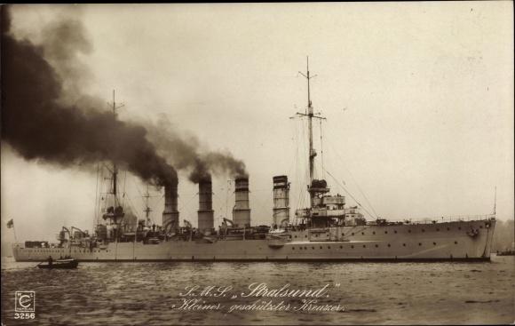 Ak Deutsches Kriegsschiff, SMS Stralsund, Kleiner geschützter Kreuzer, Kaiserliche Marine