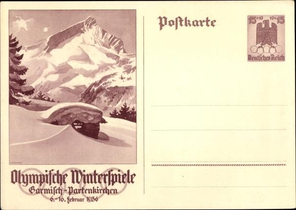 Ganzsachen Ak Garmisch Partenkirchen in Oberbayern, Olympische Winterspiele 1936