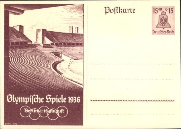 Ganzsachen Ak Berlin, Olympische Spiele 1936, Olympiastadion
