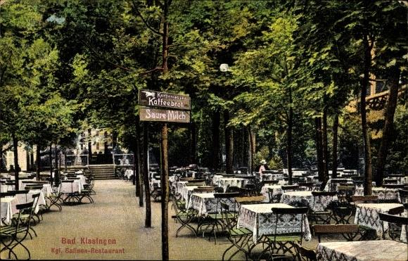 Ak Bad Kissingen Unterfranken Bayern, Terrassenpartie im Königlichen Salinen Restaurant