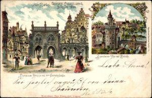 Litho Berlin Mitte, Gewerbeausstellung 1896, Spandauer Straße mit Gerichtslaube, Spandauer Tor
