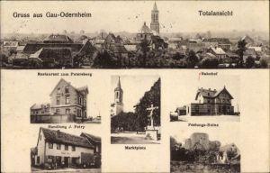 Ak Gau Odernheim Rheinland Pfalz, Restaurant zum Petersberg, Bahnhof, Festungsruine, Handlung Petry
