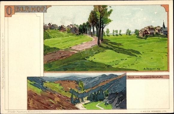 Künstler Litho Stagura, Oberhof im Thüringer Wald, Blick vom Grossvaterstuhl, Teilansicht vom Ort