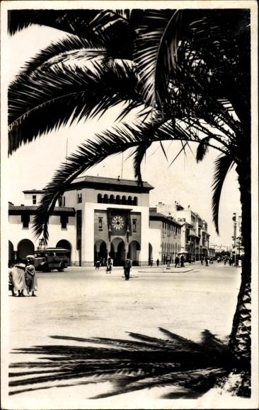 Ak Rabat Marokko, La Poste, Blick zur Post, Straßenpartie