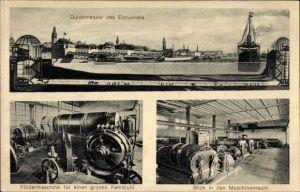 Ak Hamburg Mitte St. Pauli, Durchmesser Elbtunnel, Fördermaschine Fahrstuhl, Maschinenraum