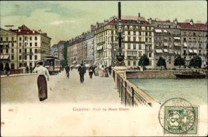 Ak Genève Genf Stadt, Pont du Mont Blanc, Brücke
