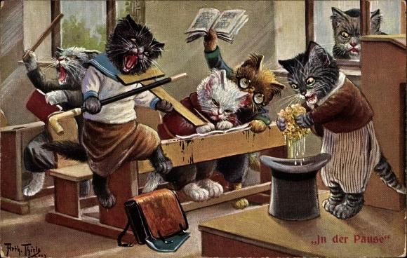 Künstler Ak Thiele, Arthur, In der Pause, Katzenschule