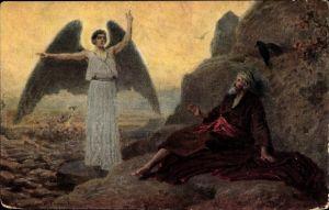 Künstler Ak L'Ange du Seigneur apparait au prophète Élie, 1. Rois 19, 3-5, Engelserscheinung