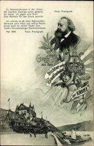 Ak Assmanshausen Rüdesheim am Rhein in Hessen, Ferdinand Freiligrath, Heim zur Krone