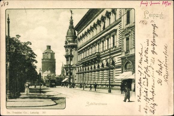 Ak Leipzig in Sachsen, Blick in die Schillerstraße, Wasserturm, Straßenbahn, Trenkler 365