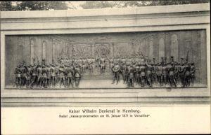 Ak Hamburg, Kaiser Wilhelm Denkmal, Relief Kaiserproklamation in Versailles