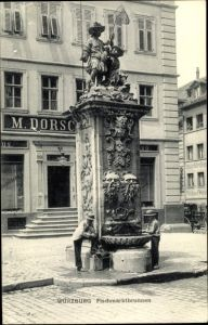 Ak Würzburg am Main Unterfranken, Blick auf den Fischmarktbrunnen