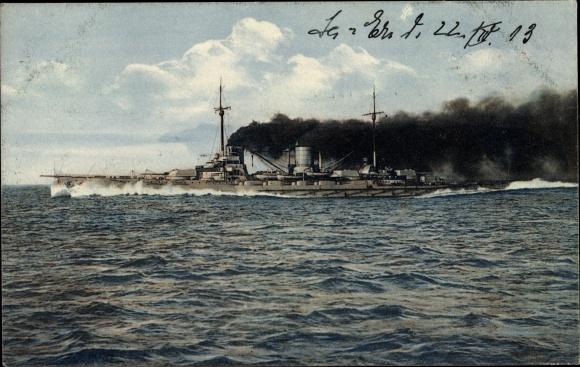 Ak Deutsches Kriegsschiff, SMS Moltke, Panzerkreuzer, Kaiserliche Marine