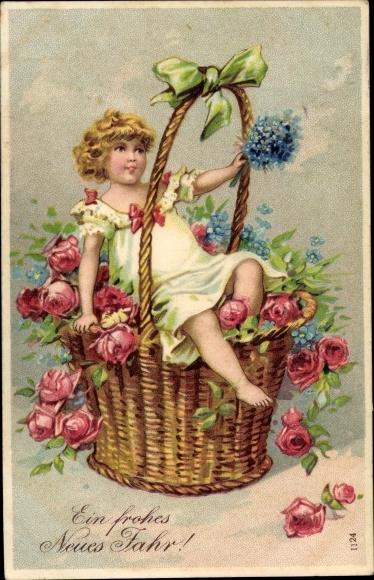 Präge Ak Glückwunsch Neujahr, Kind in einem Blumenkorb, Rosen, Vergissmeinnicht