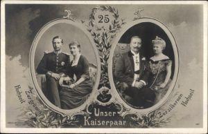 Passepartout Ak Das Kaiserpaar zur grünen und zur silbernen Hochzeit, Liersch 1257