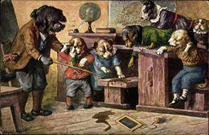 Künstler Ak Thiele, Arthur, Hundeschule, Strafe, Lehrer