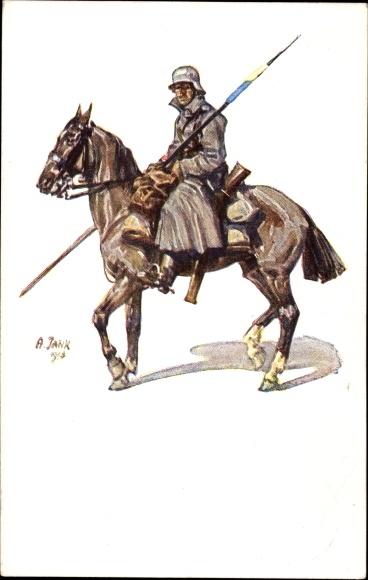 Künstler Ak Jank, A., Deutscher Soldat zu Pferd, I. WK