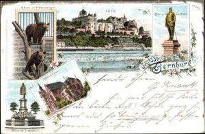 Litho Bernburg an der Saale Salzlandkreis, Bären im Schloss Zwinger, Wolfgang Denkmal, Kreishaus