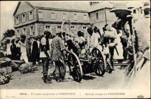 Ak Freetown Sierra Leone, Troupes anglaises, Britische Truppen, Geschütz