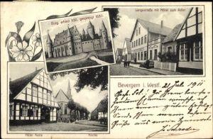 Ak Bevergern Hörstel im Tecklenburger Land, Burg, Langestraße, Hotel zum Adler, Hotel Korte, Kirche