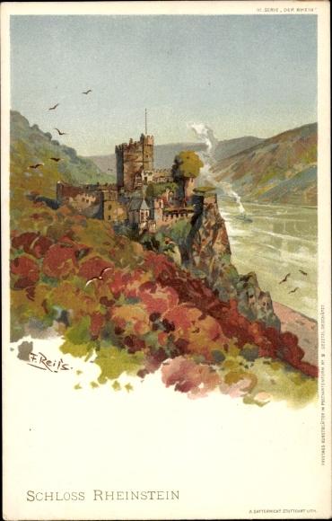 Künstler Litho Reiss, Trechtingshausen Bingen am Rhein, Blick nach Schloss Rheinstein mit Umgebung