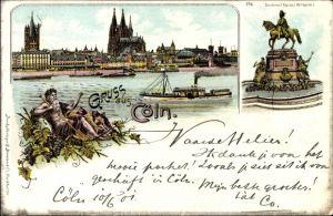 Litho Köln am Rhein, Denkmal Kaiser Wilhelm I., Blick über den Rhein zum Dom, Vater Rhein
