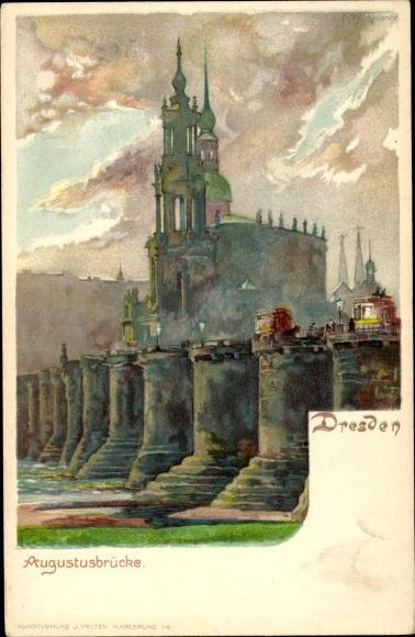 Künstler Litho Kley, Heinrich, Dresden in Sachsen, Blick auf die Augustusbrücke, Kirche